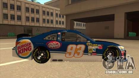Toyota Camry NASCAR No. 93 Burger King Dr Pepper para GTA San Andreas traseira esquerda vista