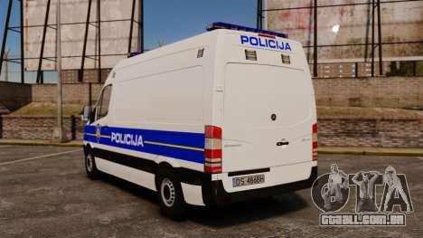 Mercedes-Benz Sprinter Croatian Police v2 [ELS] para GTA 4 traseira esquerda vista