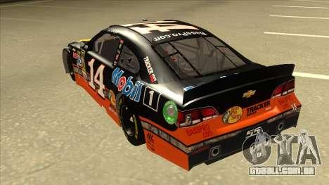 Chevrolet SS NASCAR No. 14 Mobil 1 Bass Pro Shop para GTA San Andreas vista traseira