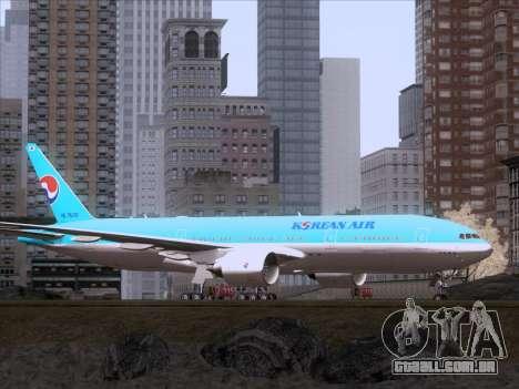Boeing 777-2B5ER Korean Air para GTA San Andreas traseira esquerda vista