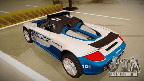 Porsche Carrera GT 2004 Police White para GTA San Andreas vista traseira