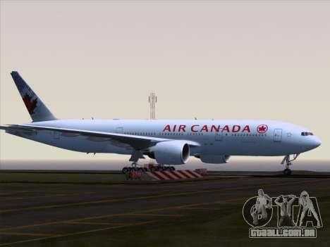 Boeing 777-200ER Air Canada para GTA San Andreas vista traseira