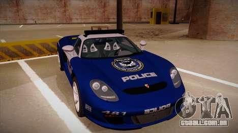 Porsche Carrera GT 2004 Police Blue para GTA San Andreas esquerda vista