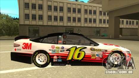 Ford Fusion NASCAR No. 16 3M Bondo para GTA San Andreas traseira esquerda vista