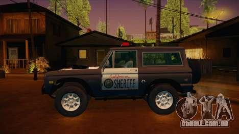 Ford Bronco 1966 Sheriff para GTA San Andreas esquerda vista