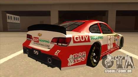 Chevrolet SS NASCAR No. 51 Guy Roofing para GTA San Andreas vista direita