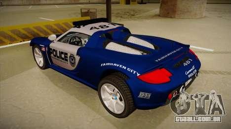 Porsche Carrera GT 2004 Police Blue para GTA San Andreas vista traseira