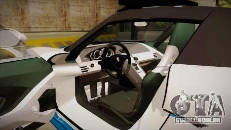 Porsche Carrera GT 2004 Police White para GTA San Andreas vista interior