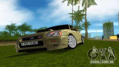 Subaru Impreza WRX STi para GTA Vice City vista interior