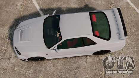 Nissan Skyline R34 GT-R NISMO Z-tune para GTA 4 vista direita