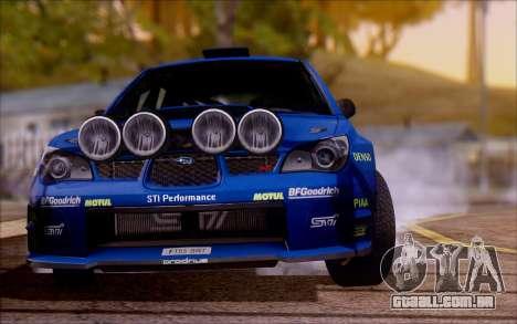 Subaru Impreza WRX STI WRC para GTA San Andreas vista direita