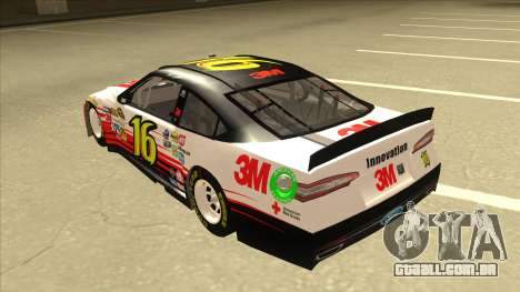 Ford Fusion NASCAR No. 16 3M Bondo para GTA San Andreas vista traseira