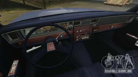 Chevrolet Caprice Brougham 1986 para GTA 4 vista interior