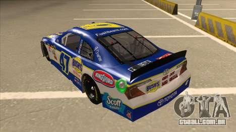 Toyota Camry NASCAR No. 47 Bushs Beans para GTA San Andreas vista traseira