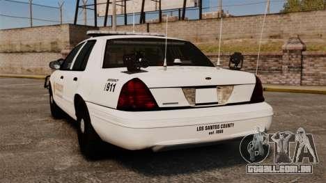 GTA V sheriff car [ELS] para GTA 4 traseira esquerda vista