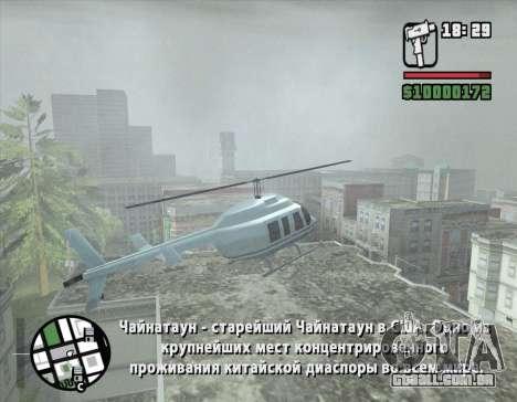 Passeio de helicóptero de San Fierro para GTA San Andreas por diante tela