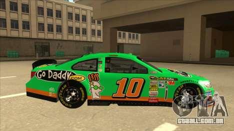 Chevrolet SS NASCAR No. 10 Go Daddy para GTA San Andreas traseira esquerda vista