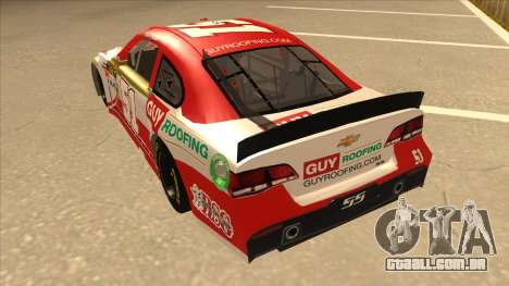 Chevrolet SS NASCAR No. 51 Guy Roofing para GTA San Andreas vista traseira