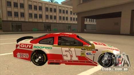 Chevrolet SS NASCAR No. 51 Guy Roofing para GTA San Andreas traseira esquerda vista