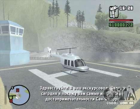 Passeio de helicóptero de San Fierro para GTA San Andreas terceira tela