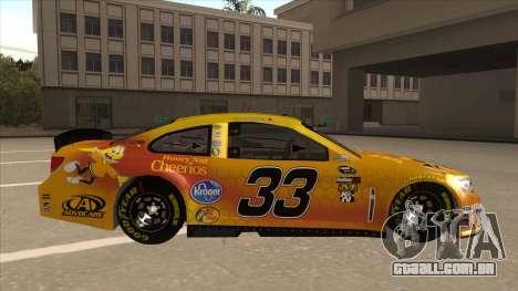 Chevrolet SS NASCAR No. 33 Cheerios para GTA San Andreas traseira esquerda vista