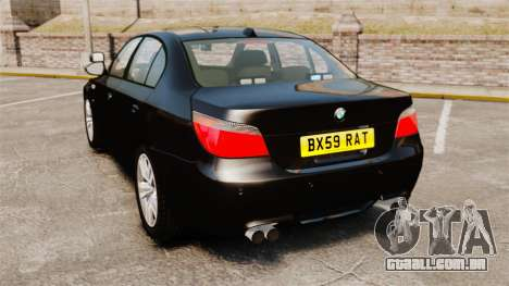 BMW M5 E60 Metropolitan Police Unmarked [ELS] para GTA 4 traseira esquerda vista