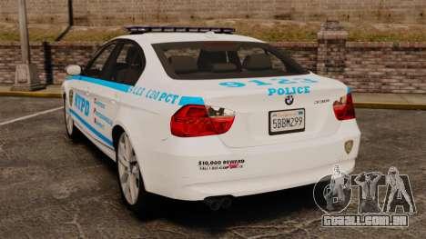 BMW 350i NYPD [ELS] para GTA 4 traseira esquerda vista