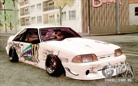 Ford Mustang SVT Cobra 1993 Drift para GTA San Andreas traseira esquerda vista