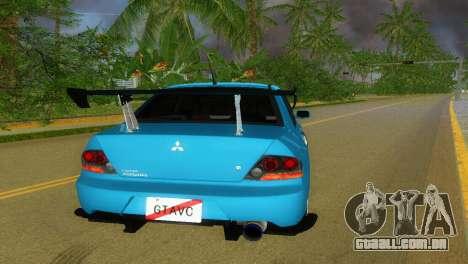 Mitsubishi Lancer Evolution VIII Type 8 para GTA Vice City vista traseira esquerda