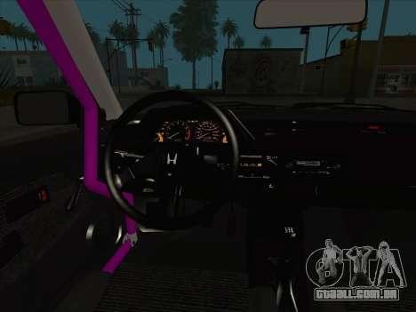 Honda Civic Si 1986 para GTA San Andreas interior