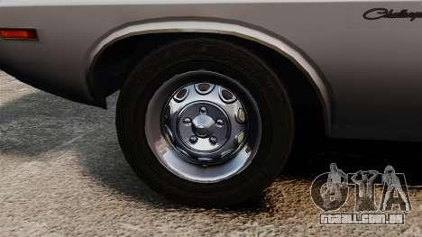Dodge Challenger 1971 v1 para GTA 4 vista de volta