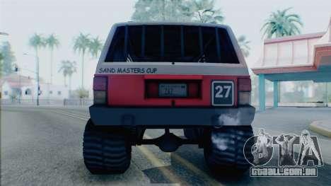 Jeep Cherokee 1984 Sandking para GTA San Andreas vista direita