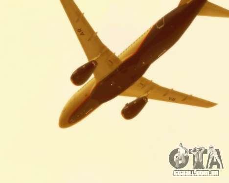 Sukhoi Superjet 100-95 Aeroflot para GTA San Andreas vista interior