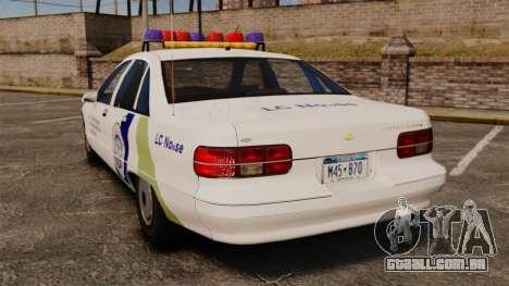 Chevrolet Caprice Police 1991 v2.0 N.o.o.s.e para GTA 4 traseira esquerda vista
