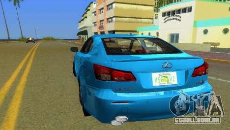 Lexus IS-F para GTA Vice City vista traseira esquerda
