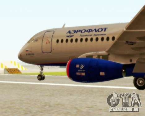 Sukhoi Superjet 100-95 Aeroflot para GTA San Andreas esquerda vista