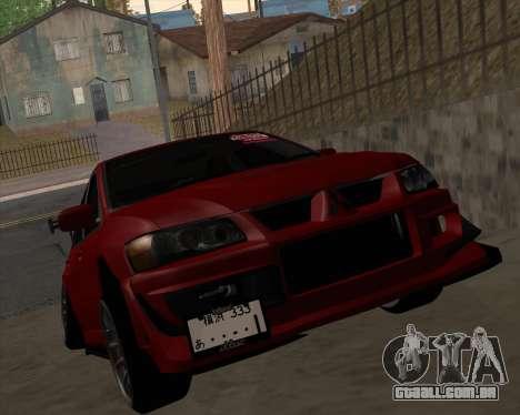 Mitsubishi Evolution VIII para GTA San Andreas esquerda vista