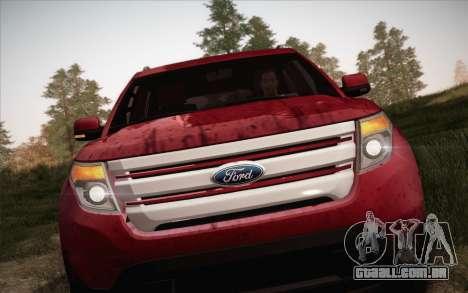 Ford Explorer 2013 para GTA San Andreas vista traseira