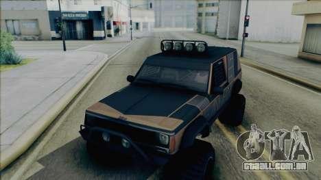 Jeep Cherokee 1984 Sandking para GTA San Andreas vista interior