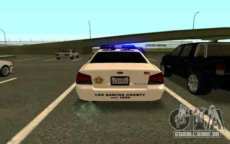 GTA V Sheriff Cruiser para GTA San Andreas esquerda vista