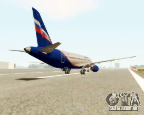 Sukhoi Superjet 100-95 Aeroflot para GTA San Andreas traseira esquerda vista