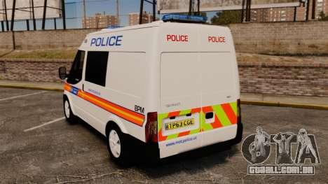 Ford Transit 2013 Police [ELS] para GTA 4 traseira esquerda vista