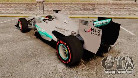 Mercedes AMG F1 W04 v6 para GTA 4 traseira esquerda vista