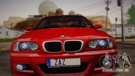BMW E46 M3 Coupe para GTA San Andreas traseira esquerda vista