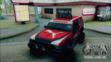 Jeep Cherokee 1984 Sandking para GTA San Andreas vista inferior