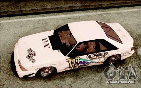 Ford Mustang SVT Cobra 1993 Drift para GTA San Andreas vista interior