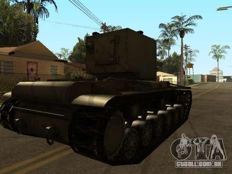 KV-2 para GTA San Andreas traseira esquerda vista