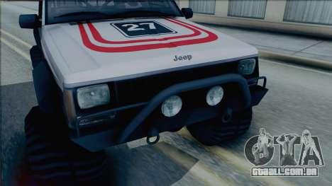 Jeep Cherokee 1984 Sandking para GTA San Andreas traseira esquerda vista