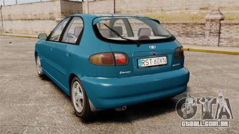 Daewoo Lanos PL 2001 para GTA 4 traseira esquerda vista