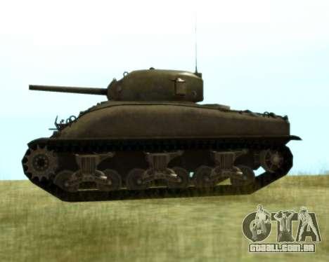M4 Sherman para GTA San Andreas traseira esquerda vista
